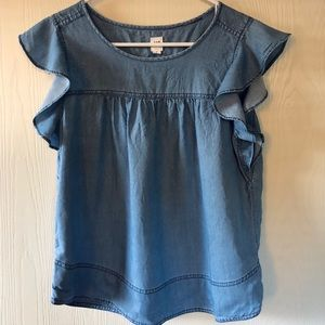 Denim short sleeve tunic top